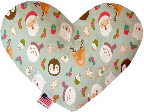 Gray Christmas Party Inch Canvas Heart Dog Toy-Made in the USA-Bella's PetStor