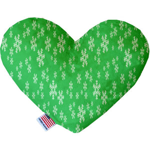 Green And White Snowflakes Inch Heart Dog Toy-Christmas, Hannakuh-Bella's PetStor