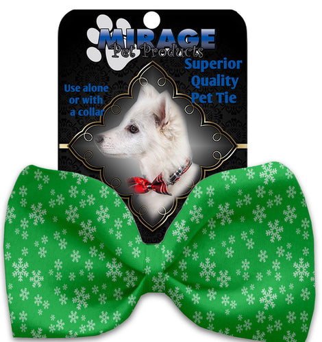 Green And White Snowflakes Pet Bow Tie Collar Accessory With Velcro-Christmas, Hannakuh-Bella's PetStor