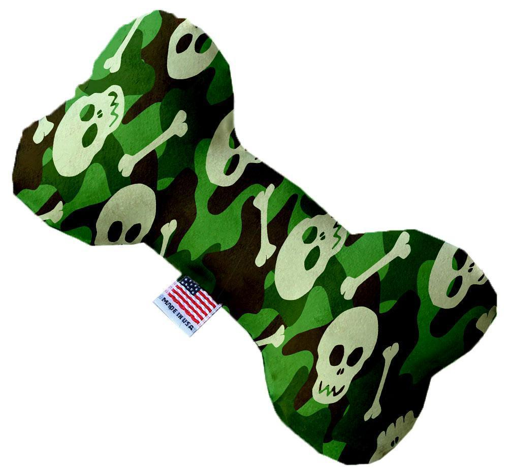 Green Camo Skulls Inch Canvas Bone Dog Toy-Made in the USA-Bella's PetStor