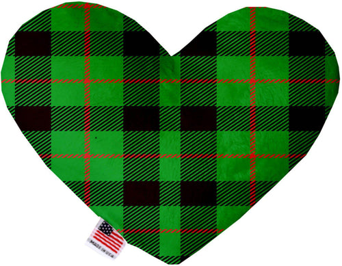 Green Plaid 8 Inch Heart Dog Toy-Christmas, Hannakuh-Bella's PetStor