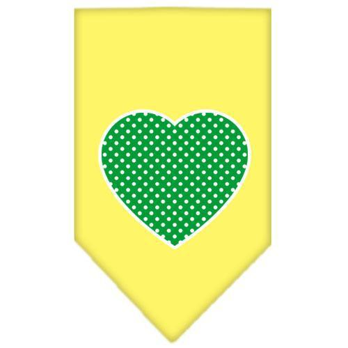 Green Swiss Dot Heart Screen Print Bandana-Dog Clothing-Bella's PetStor