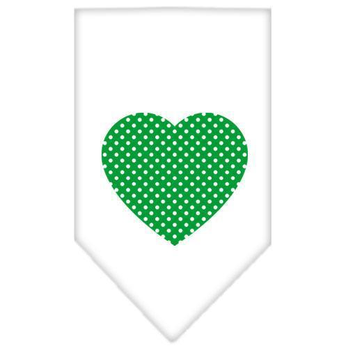 Green Swiss Dot Heart Screen Print Bandana White Large-Green swiss dot heart screen print bandana-Bella's PetStor
