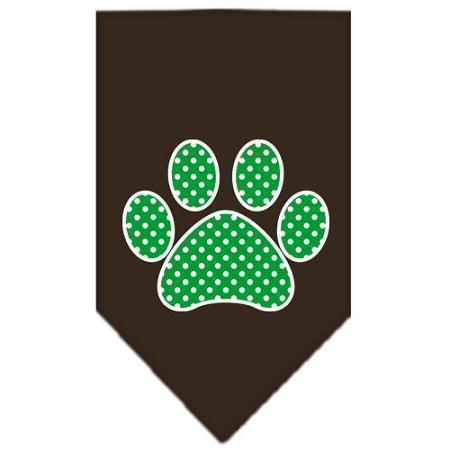 Green Swiss Dot Paw Screen Print Bandana-Dog Clothing-Bella's PetStor