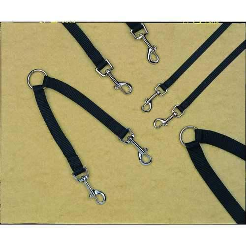 Hamilton Black Nylon Double Coupler Walking 2 Dogs 3/4x12 In 013227050710-Leashes & Head Collars-Bella's PetStor