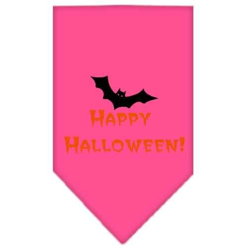 Happy Halloween Screen Print Bandana Bright Pink Large-happy halloween screen print bandana holiday pet products-Bella's PetStor