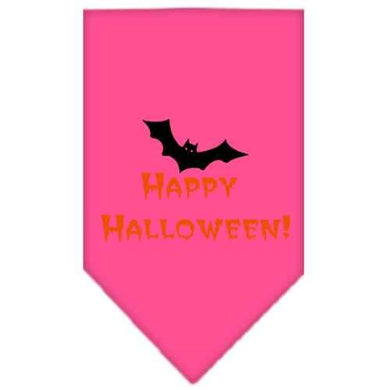 Happy Halloween Screen Print Bandana Bright Pink Small-happy halloween screen print bandana holiday pet products-Bella's PetStor