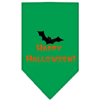 Happy Halloween Screen Print Bandana Emerald Green Large-happy halloween screen print bandana holiday pet products-Bella's PetStor