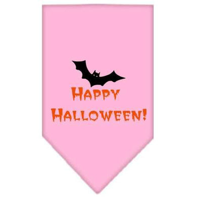Happy Halloween Screen Print Bandana Light Pink Large-happy halloween screen print bandana holiday pet products-Bella's PetStor