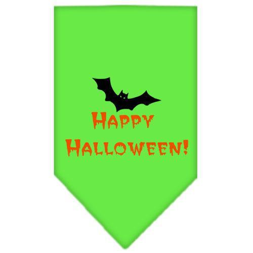 Happy Halloween Screen Print Bandana Lime Green Small-happy halloween screen print bandana holiday pet products-Bella's PetStor