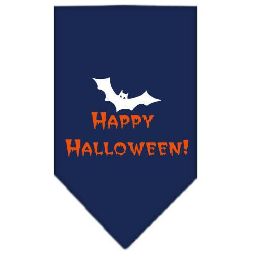 Happy Halloween Screen Print Bandana Navy Blue large-happy halloween screen print bandana holiday pet products-Bella's PetStor
