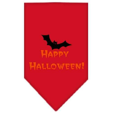 Happy Halloween Screen Print Bandana Red Large-happy halloween screen print bandana holiday pet products-Bella's PetStor