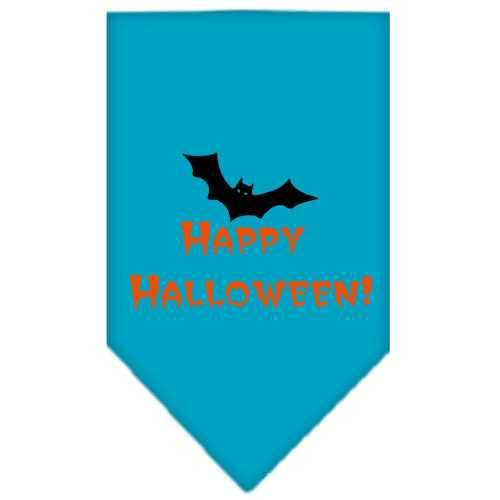 Happy Halloween Screen Print Bandana Turquoise Small-happy halloween screen print bandana holiday pet products-Bella's PetStor