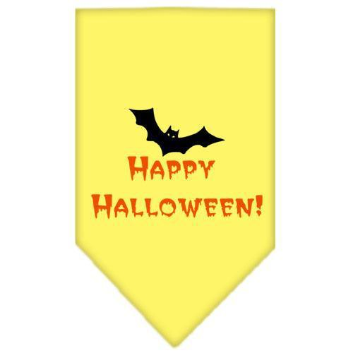 Happy Halloween Screen Print Bandana Yellow Small-happy halloween screen print bandana holiday pet products-Bella's PetStor