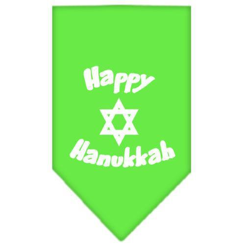 Happy Hanukkah Screen Print Bandana Lime Green Small-happy hanukkah screen print bandana holiday pet products-Bella's PetStor