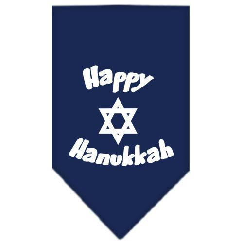 Happy Hanukkah Screen Print Bandana Navy Blue large-happy hanukkah screen print bandana holiday pet products-Bella's PetStor