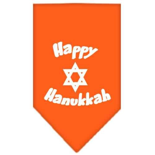 Happy Hanukkah Screen Print Bandana Orange Large-happy hanukkah screen print bandana holiday pet products-Bella's PetStor