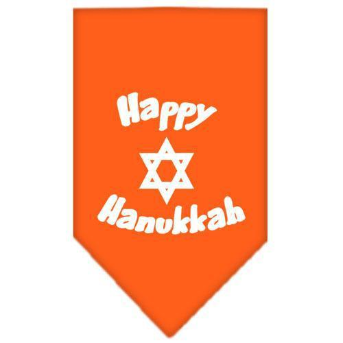 Happy Hanukkah Screen Print Bandana Orange Small-happy hanukkah screen print bandana holiday pet products-Bella's PetStor