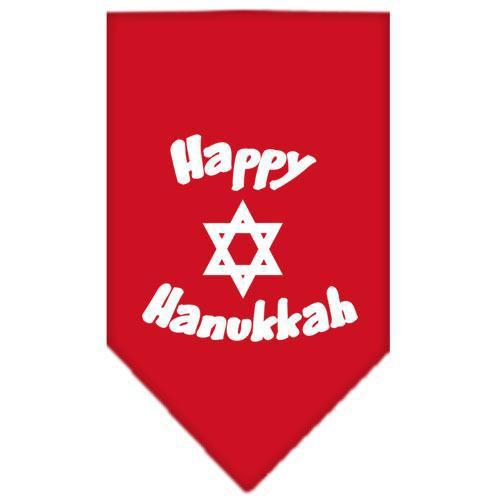Happy Hanukkah Screen Print Bandana Red Large-happy hanukkah screen print bandana holiday pet products-Bella's PetStor