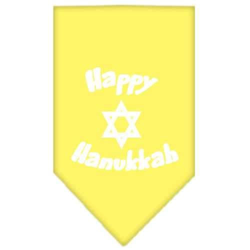 Happy Hanukkah Screen Print Bandana Yellow Large-happy hanukkah screen print bandana holiday pet products-Bella's PetStor
