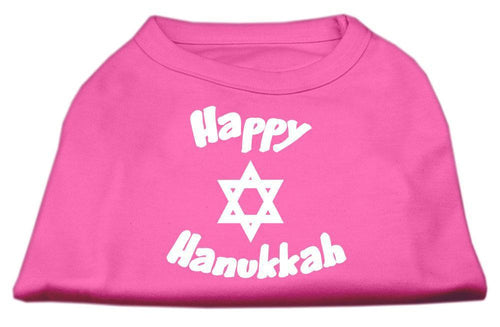 Happy Hanukkah Screen Print Shirt Bright Pink-Dog Clothing-Bella's PetStor