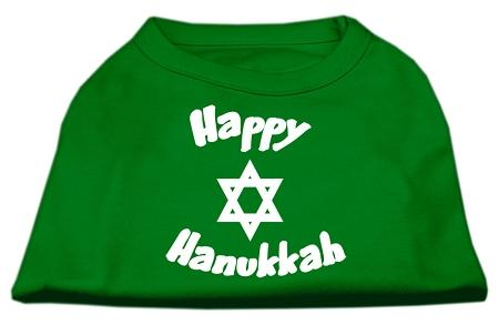 Happy Hanukkah Screen Print Shirt Emerald Green-Dog Clothing-Bella's PetStor
