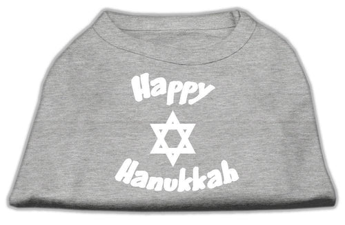 Happy Hanukkah Screen Print Shirt Grey-Dog Clothing-Bella's PetStor