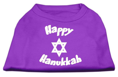 Happy Hanukkah Screen Print Shirt Purple-Dog Clothing-Bella's PetStor