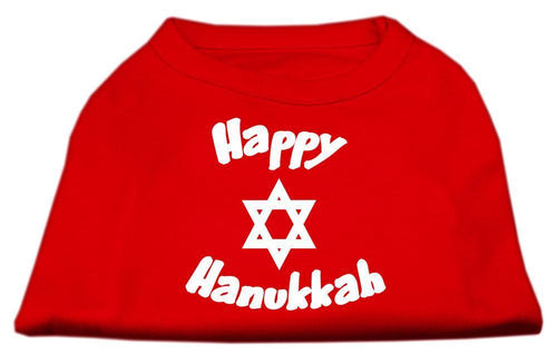 Happy Hanukkah Screen Print Shirt Red-Dog Clothing-Bella's PetStor
