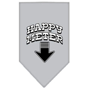 Happy Meter Screen Print Bandana Grey Large-happy meter screen print bandana-Bella's PetStor