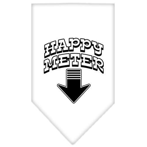 Happy Meter Screen Print Bandana White Large-happy meter screen print bandana-Bella's PetStor