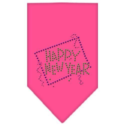 Happy New Year Rhinestone Bandana Bright Pink Large-Happy new year rhinestone bandana-Bella's PetStor