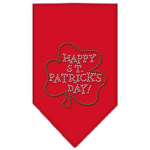 Happy St Patricks Day Rhinestone Bandana Red Small-Happy st patricks day rhinestone bandana-Bella's PetStor