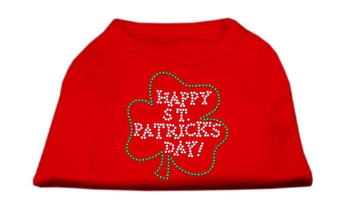 Happy St. Patrick's Day Rhinestone Shirts Red-Dog Clothing-Bella's PetStor