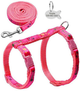 Harness & Leash w/Fish ID Tag, 3 Colors, S-Overseas-Bella's PetStor