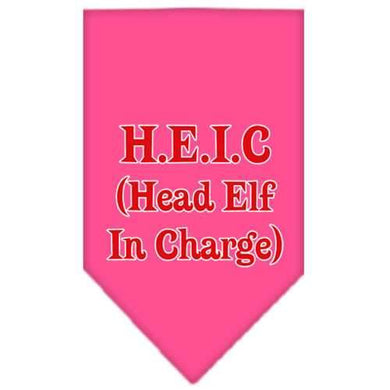 Head elf In Charge Screen Print Bandana Bright Pink Large-head elf in charge screen print bandana holiday pet products-Bella's PetStor