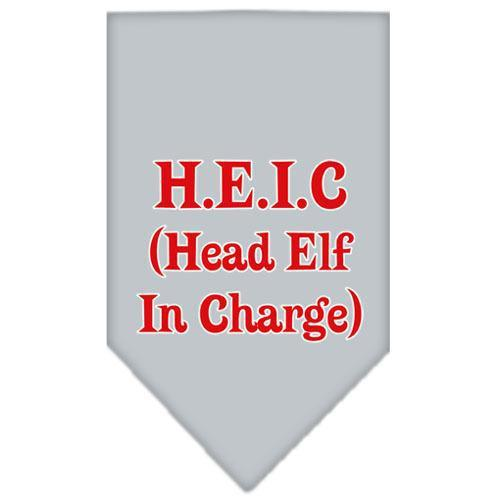 Head elf In Charge Screen Print Bandana Grey Small-head elf in charge screen print bandana holiday pet products-Bella's PetStor