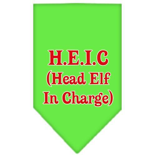 Head elf In Charge Screen Print Bandana Lime Green Large-head elf in charge screen print bandana holiday pet products-Bella's PetStor