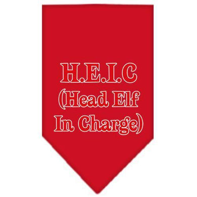 Head elf In Charge Screen Print Bandana Red Small-head elf in charge screen print bandana holiday pet products-Bella's PetStor