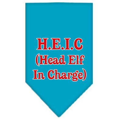 Head elf In Charge Screen Print Bandana Turquoise Small-head elf in charge screen print bandana holiday pet products-Bella's PetStor