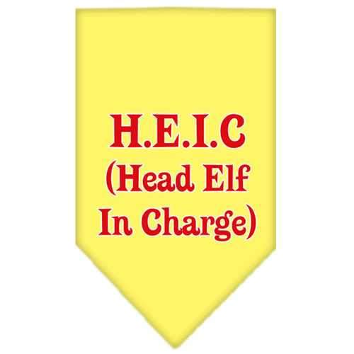 Head elf In Charge Screen Print Bandana Yellow Small-head elf in charge screen print bandana holiday pet products-Bella's PetStor