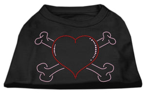 Heart And Crossbones Rhinestone Shirts Black-Dog Clothing-Bella's PetStor