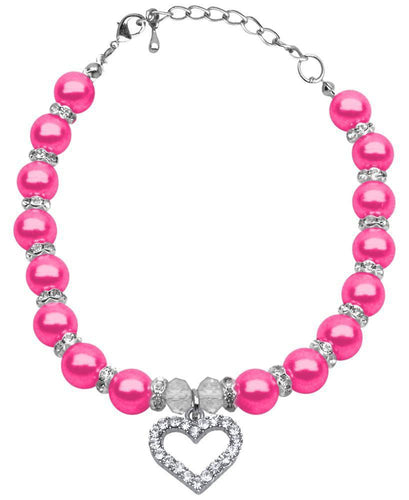 Heart And Pearl Necklace-Valentines-Bella's PetStor