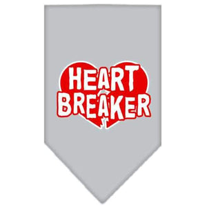 Heart Breaker Screen Print Bandana Grey Small-heart breaker screen print bandana-Bella's PetStor