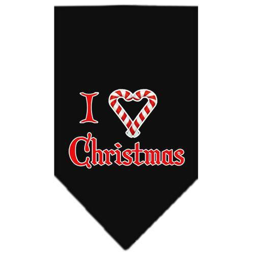 Heart Christmas Screen Print Bandana Black Small-heart christmas screen print bandana holiday pet products-Bella's PetStor