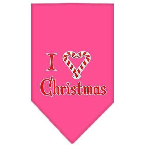 Heart Christmas Screen Print Bandana Bright Pink Large-heart christmas screen print bandana holiday pet products-Bella's PetStor
