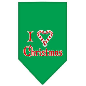 Heart Christmas Screen Print Bandana Emerald Green Large-heart christmas screen print bandana holiday pet products-Bella's PetStor