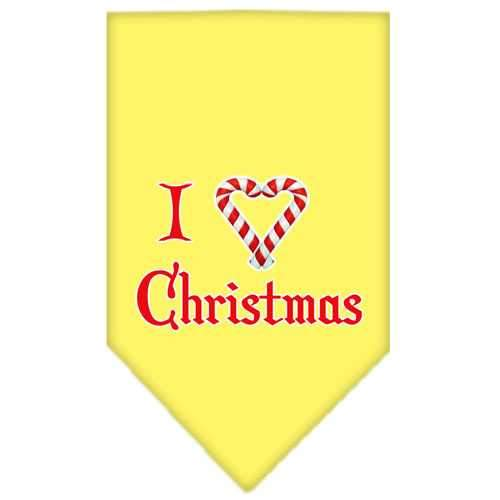 Heart Christmas Screen Print Bandana Yellow Small-heart christmas screen print bandana holiday pet products-Bella's PetStor