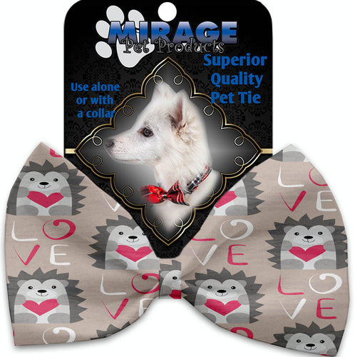 Hedgehog Love Pet Bow Tie Collar Accessory With Velcro-Valentines-Bella's PetStor