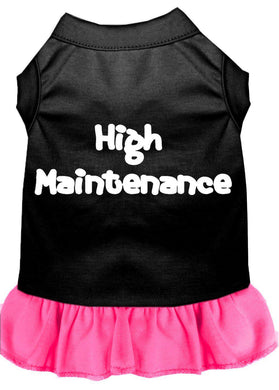 High Maintenance Screen Print Dress Black With Bright Pink-Dog Clothing-Bella's PetStor